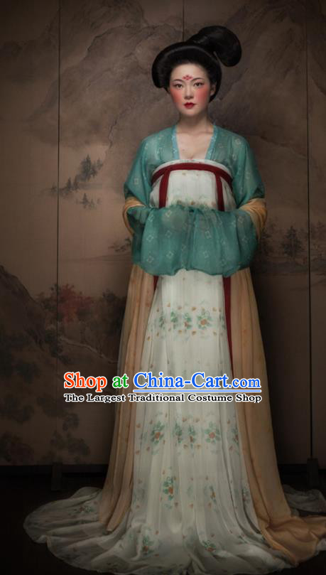 Traditional Chinese Tang Dynasty Royal Lady Hanfu Dress Ancient Imperial Concubine Replica Costumes for Women