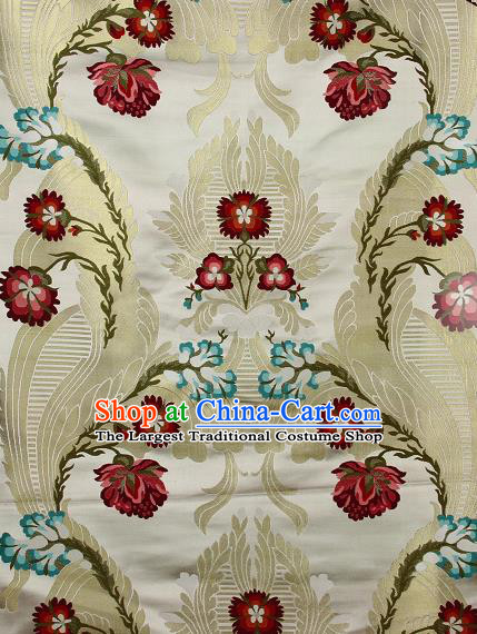 Asian Chinese Traditional Phoenix Galsang Flowers Pattern White Brocade Tibetan Robe Satin Fabric Silk Material