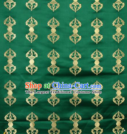 Asian Chinese Traditional Vajra Pattern Green Brocade Tibetan Robe Satin Fabric Silk Material