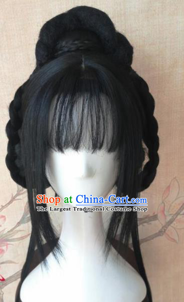 Chinese Traditional Cosplay Court Princess Wigs Ancient Swordswoman Wig Sheath Hair Accessories for Women