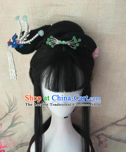 Chinese Traditional Cosplay A Dream in Red Mansions Lin Daiyu Wigs Ancient Nobility Lady Wig Sheath Hair Accessories for Women
