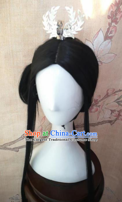 Chinese Traditional Cosplay Peri Princess Wigs Ancient Nobility Lady Wig Sheath Hair Accessories for Women