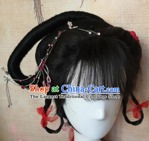 Chinese Traditional Cosplay Beijing Opera Wigs Ancient Nobility Lady Wig Sheath Hair Accessories for Women