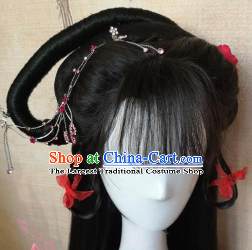 Chinese Traditional Cosplay Palace Princess Wigs Ancient Nobility Lady Wig Sheath Hair Accessories for Women