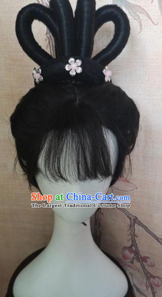 Chinese Traditional Cosplay Flying Apsaras Wigs Ancient Nobility Lady Wig Sheath Hair Accessories for Women