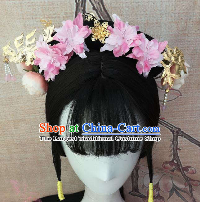 Chinese Traditional Cosplay Princess Wigs Ancient Court Lady Wig Sheath and Hair Accessories for Women
