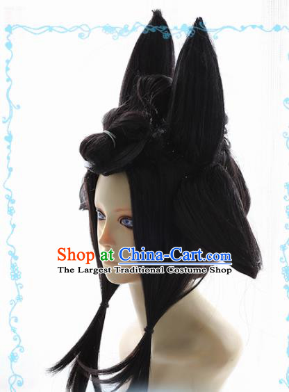 Japanese Traditional Cosplay Geisha Black Wigs Ancient Courtesan Wig Sheath Hair Accessories for Women