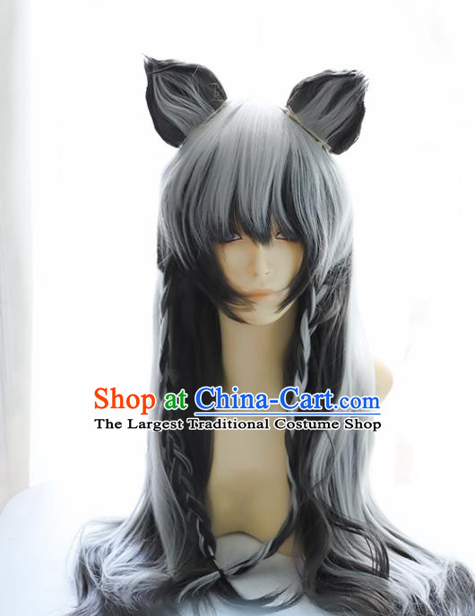 Chinese Traditional Cosplay Knight Wigs Halloween Swordsman Hair Accessories for Men