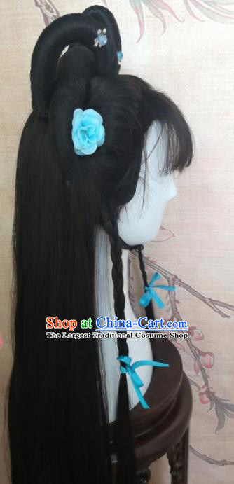 Chinese Traditional Cosplay Lin Daiyu Wigs Ancient Nobility Lady Wig Sheath Hair Accessories for Women