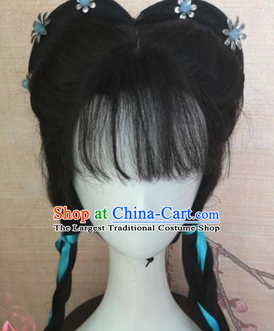 Chinese Traditional Cosplay Maidservants Wigs Ancient Nobility Lady Wig Sheath Hair Accessories for Women