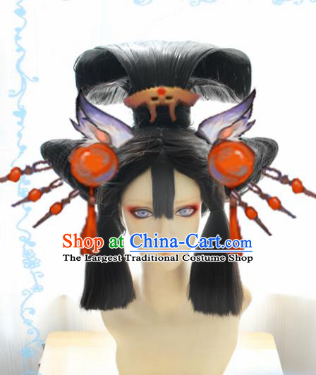 Japanese Traditional Cosplay Geisha Wigs Sheath Ancient Courtesan Wig Hair Accessories for Women