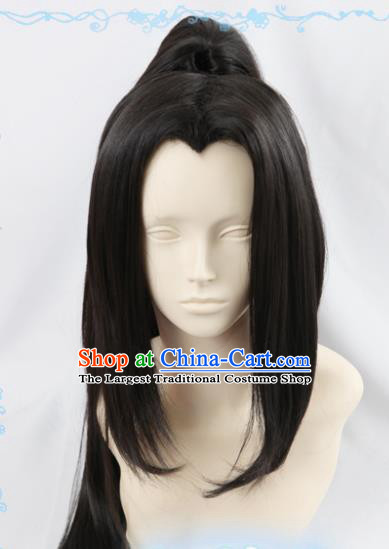 Chinese Traditional Cosplay Young Hero Wigs Ancient Swordsman Wig Sheath Hair Accessories for Men