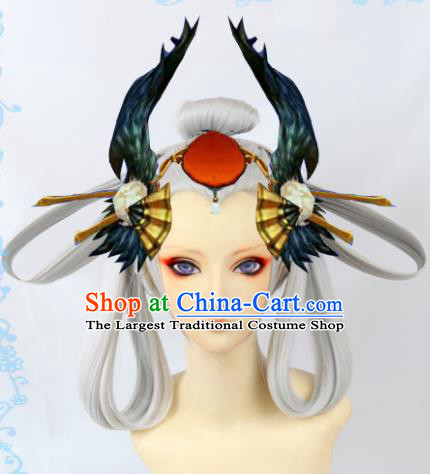 Japanese Traditional Cosplay Onmyoji White Wigs Sheath Ancient Geisha Wig Hair Accessories for Women