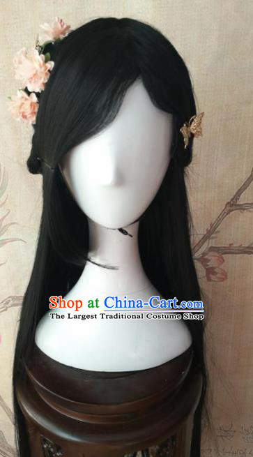 Chinese Traditional Cosplay Song Dynasty Princess Wigs Ancient Palace Lady Wig Sheath Hair Accessories for Women