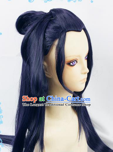 Chinese Traditional Cosplay Princess Fairy Blue Wigs Ancient Female Swordsman Wig Sheath Hair Accessories for Women