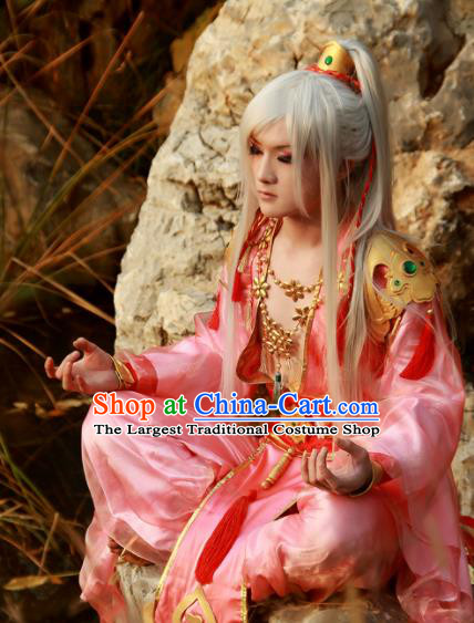 Chinese Traditional Cosplay Knight Taoist White Wigs Ancient Swordsman Wig Sheath Hair Accessories for Men