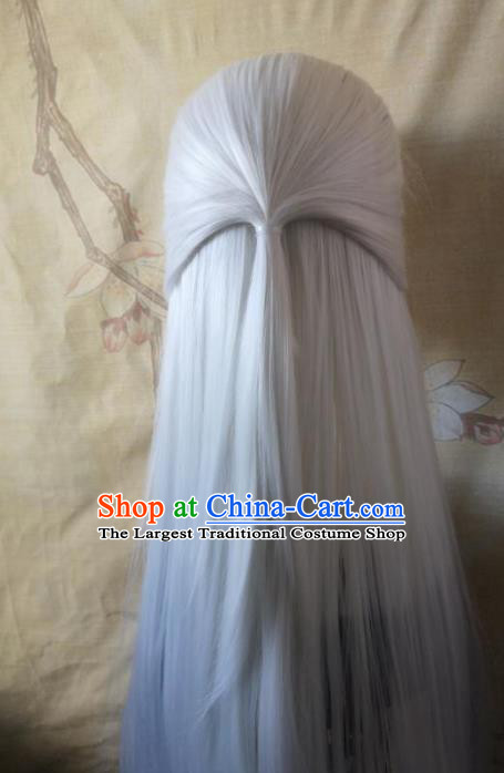 Traditional Chinese Cosplay Game Knight Taoist White Wigs Ancient Swordsman Wig Sheath Hair Accessories for Men