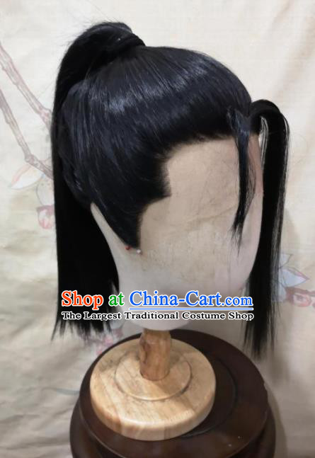 Traditional Chinese Cosplay Game young Knight Black Wigs Ancient Swordsman Wig Sheath Hair Accessories for Men