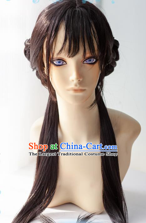 Chinese Traditional Cosplay Young Lady Wigs Ancient Swordswoman Wig Sheath Hair Accessories for Women