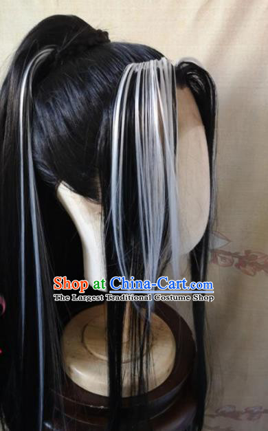 Traditional Chinese Cosplay Game Knight Ponytail Wigs Ancient Swordsman Wig Sheath Hair Accessories for Men