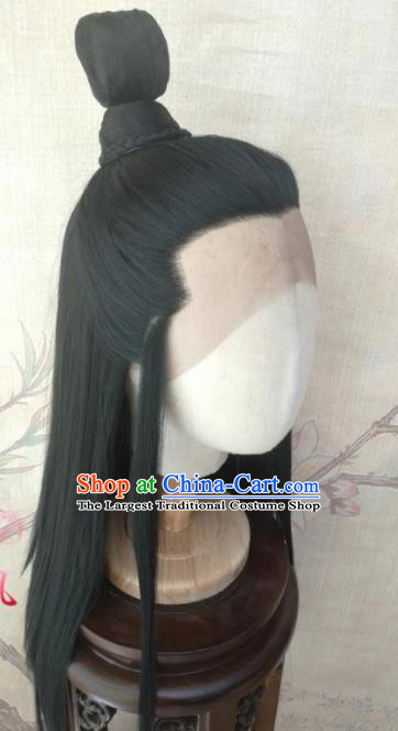 Traditional Chinese Cosplay Game Prince Black Wigs Ancient Swordsman Wig Sheath Hair Accessories for Men