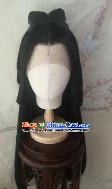 Chinese Traditional Cosplay Han Dynasty Princess Wigs Ancient Female Swordsman Wig Sheath Hair Accessories for Women