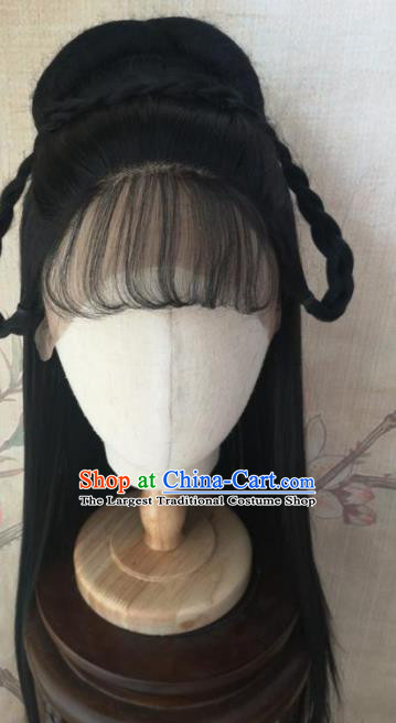 Chinese Traditional Cosplay Princess Wigs Ancient Nobility Lady Wig Sheath Hair Accessories for Women