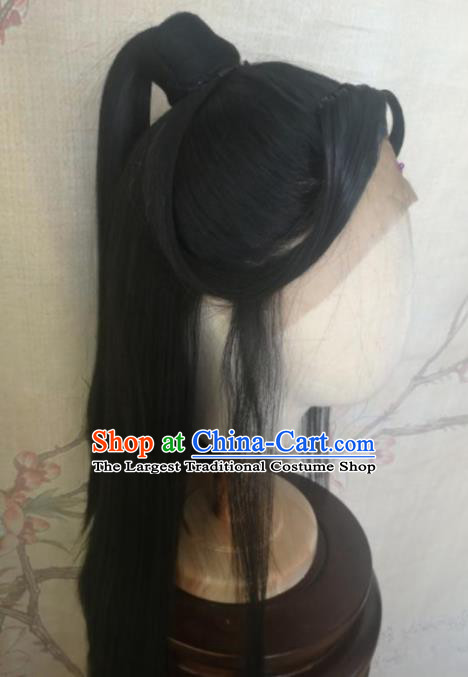 Chinese Traditional Cosplay Swordswoman Wan Ning Wigs Ancient Nobility Lady Wig Sheath Hair Accessories for Women