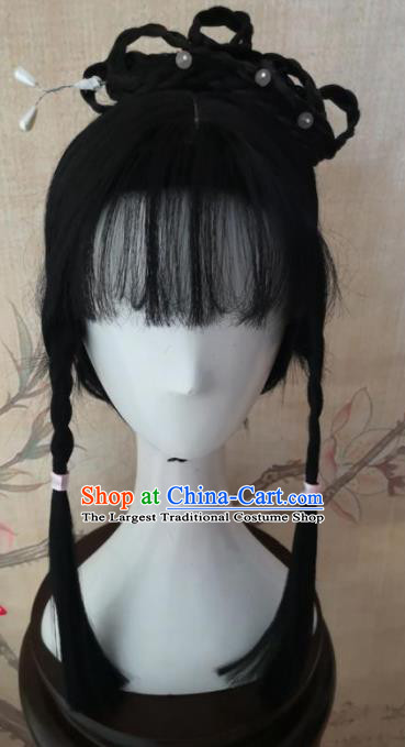 Chinese Traditional Cosplay The Legend of the Condor Heroes Mu Nianci Wigs Ancient  Maidservant Wig Sheath Hair Accessories for Women