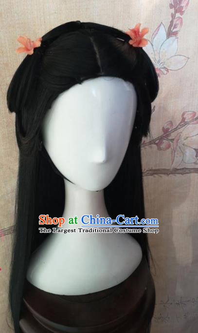 Chinese Traditional Cosplay Dragon Oath Wang Yuyan Wigs Ancient Swordswoman Wig Sheath Hair Accessories for Women