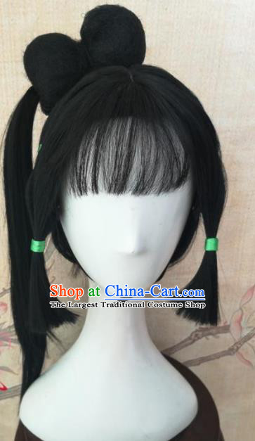 Chinese Traditional Cosplay The Legend Of White Snake Xiao Qing Wigs Ancient Swordswoman Wig Sheath Hair Accessories for Women