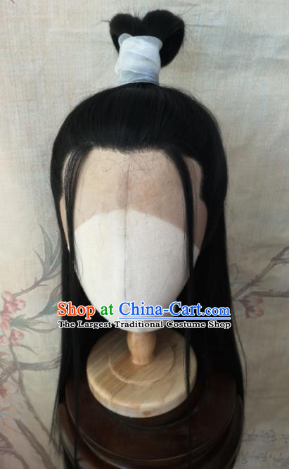 Traditional Chinese Cosplay Hanfu Nobility Childe Swordsman Wigs Ancient Prince Wig Sheath Hair Accessories for Men