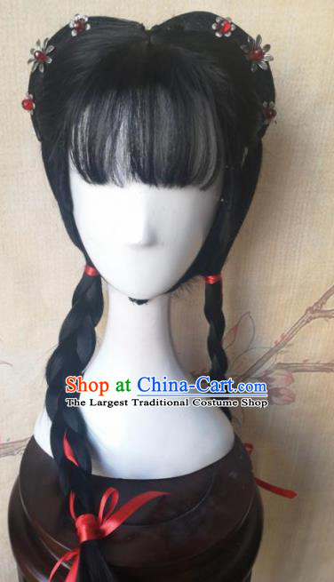 Chinese Traditional Cosplay Servant Girl Wigs Ancient  Maidservant Wig Sheath Hair Accessories for Women