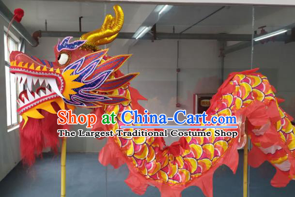 Chinese Lantern Festival Dragon Dance Competition Red Dragon Head Traditional Dragon Dance Prop Complete Set for Adult