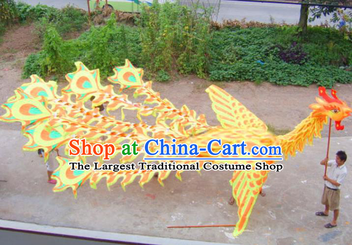 Chinese Lantern Festival Dragon Dance Competition Yellow Phoenix Head Traditional Dragon Dance Prop Complete Set for Adult