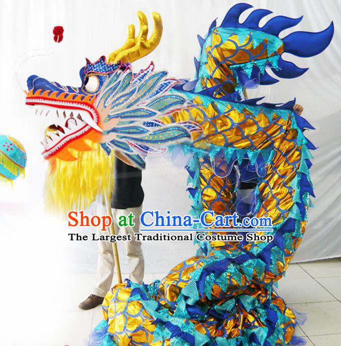 Chinese New Year Dragon Dance Competition Blue Dragon Head Traditional Dragon Dance Prop Complete Set for Adult