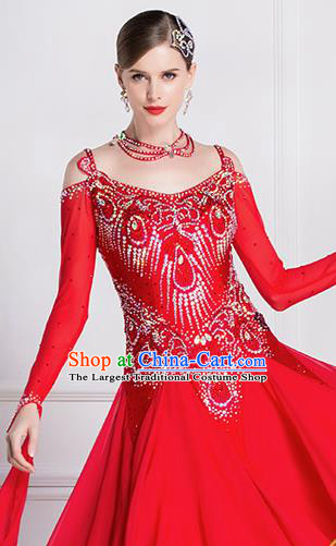 Top Grade Ballroom Dance Waltz Red Dress Modern Dance International Dance Costume for Women
