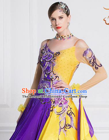 Top Grade Ballroom Dance Waltz Purple Veil Dress Modern Dance International Dance Costume for Women