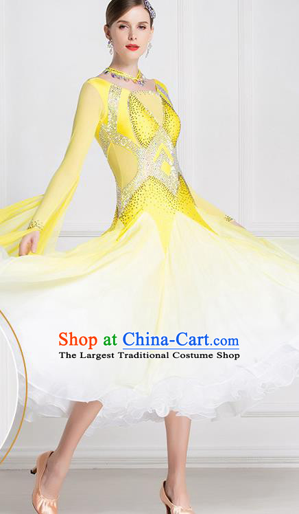Top Grade International Waltz Dance Yellow Dress Ballroom Dance Modern Dance Costume for Women