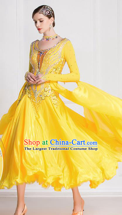 Professional International Waltz Dance Yellow Dress Ballroom Dance Modern Dance Competition Costume for Women