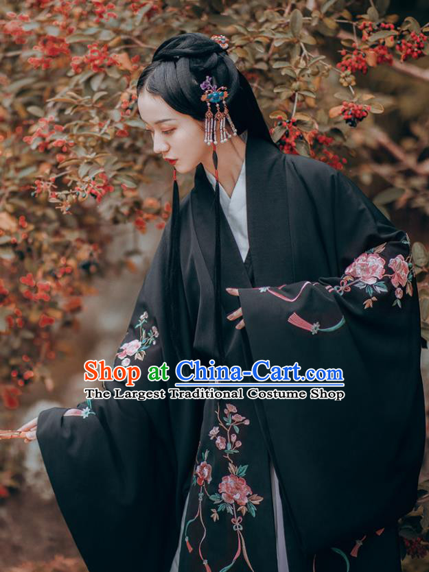 Traditional Chinese Ming Dynasty Imperial Consort Embroidered Dress Ancient Hanfu Court Replica Costumes for Women