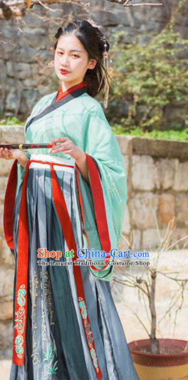 Traditional Chinese Jin Dynasty Imperial Consort Embroidered Green Dress Ancient Hanfu Court Replica Costumes for Women