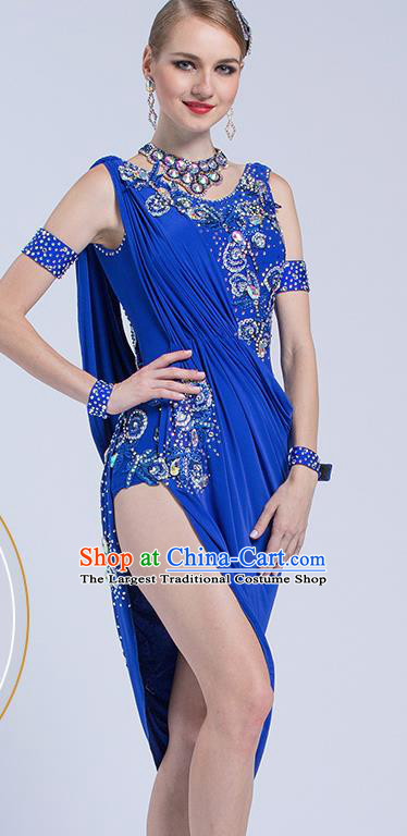 Top Latin Dance Competition Royalblue Dress Modern Dance International Rumba Dance Costume for Women