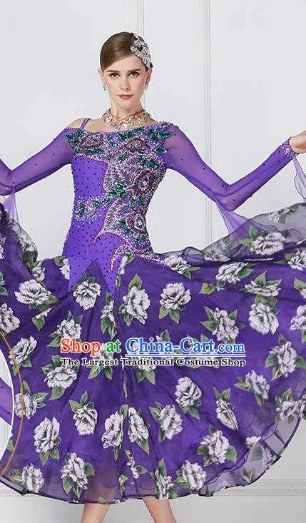 Professional Waltz Tango Competition Purple Dress Modern Dance International Ballroom Dance Costume for Women