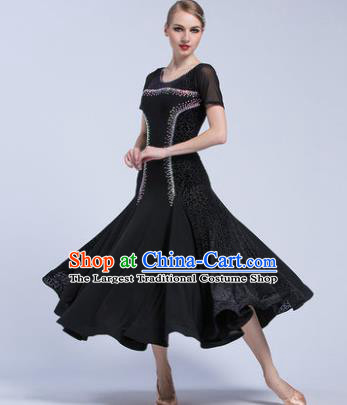 Professional Modern Dance Waltz Competition Black Velvet Dress International Ballroom Dance Costume for Women