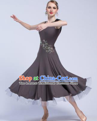 Professional Modern Dance Waltz Competition Grey Dress International Ballroom Dance Costume for Women