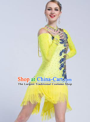 Top Latin Dance Competition Yellow Tassel Dress Modern Dance International Rumba Dance Costume for Women