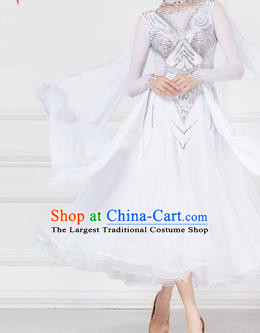 Professional Modern Dance Waltz Competition Diamante White Dress International Ballroom Dance Costume for Women