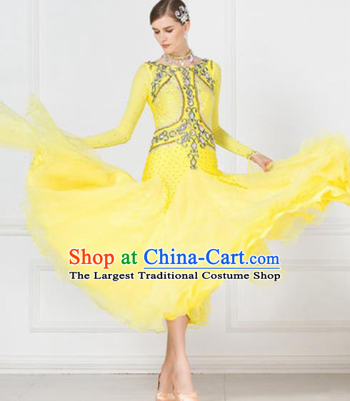 Professional Modern Dance Waltz Competition Diamante Yellow Dress International Ballroom Dance Costume for Women