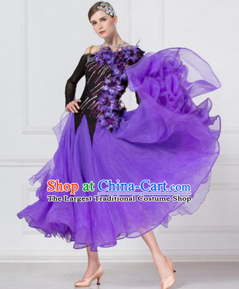 Professional Modern Dance Waltz Purple Veil Dress International Ballroom Dance Competition Costume for Women
